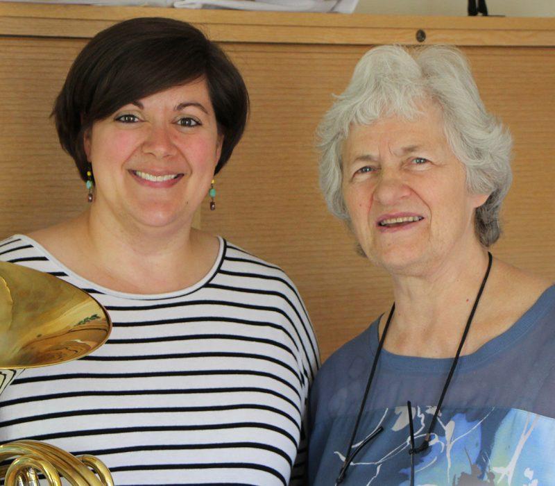 Katie Johnson-Webb poses with Norwegian horn master Frøydis Ree Wekre