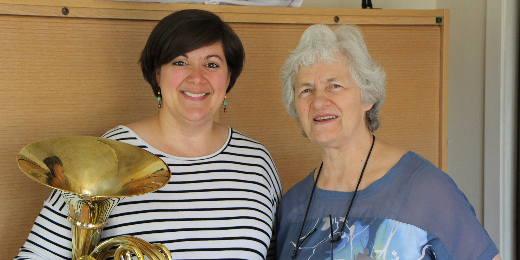 Katie Johnson-Webb poses with Norwegian horn master Frøydis Ree Wekre